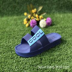 New style household slippers bathing slippers in the four seasons men`s soft bottom hollow-out anti- blue 40-45