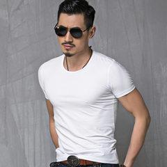 2017 men`s short sleeve T-shirt summer men`s pure color T-shirt short sleeve advertising shirt round White collar m