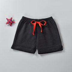Summer Korean version of children`s cotton shorts baby hot pants boys and girls pants sports pants b Children`s shorts) black Size 90 (suitable for 80-90cm height)