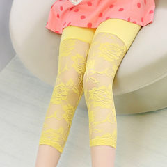 AA-73 summer Korean version of model rose patchwork girls` sevens candy colored children`s leggings yellow 100 cm to 140 cm / 1 hand 5 pieces