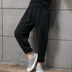 New summer nine-point trousers mian silken anti-mosquito trousers bloomers baby air conditioning tro Harem pants are small black 90 cm