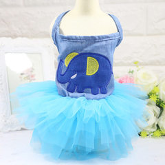 Condole takes denim embroidery net gauze skirt cartoon series pet dog cat skirt spring and summer st Embroidered elephant blue gauze dress xs