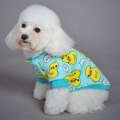 Mixed pet clothes dog vest thickened warm dog clothes cat clothes pet clothes Pale blue duck xs