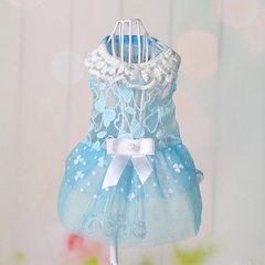 Pet dog clothing lace bowknot skirt summer wear pet clothing wholesale dog clothing blue 8 yards XS