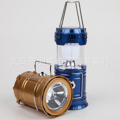 Solar energy multifunctional 5700T camping lamp retractable portable tent lamp camping horse lantern golden