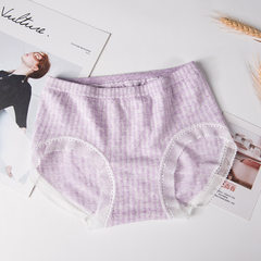 New lace cotton ladies small waist fresh plaid colored cotton underwear women pack hip briefs wholes purple All code