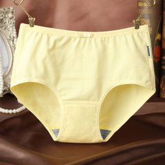 Pure cotton women`s underwear middle waist bowknot all cotton triangle pants large size breathable p yellow m