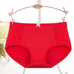 Middle waist pure cotton women`s underwear organic cotton all-cotton fabric pure color middle-aged a red Average size, suitable for 2.7 feet waist circumference