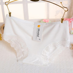 Ladies underwear modell underwear middle pure color breathable lace edge comfortable large size brie white xl