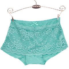 Single piece of lace lace lace women`s trousers in the middle of the waist sexy butt lift flat merda Green lake All code