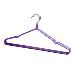 T1001衣架厂家批发衣架浸塑成人防滑衣架 干湿两用成人防滑晾衣架 紫色 全长39CM左右