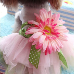 Pet supplies spring and summer teddy dog sundress pet clothes dog skirt white S (2)