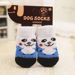 Dog socks pet socks anti-skid teddy dog socks cats are 4 more cute dog foot covers than bears White and blue bear Socks S