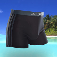 Factory wholesale swimming trunks men`s three bar polyester asap hot spring fashion men`s flat horne Black gray edge XXL