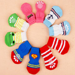 Pet socks four high quality soft anti - skid dog cat cotton socks multi - color multi - fancy pet su Color patterns are random