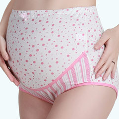 Cotton wave dot printed maternity underwear can adjust the high waist to support the abdomen shorts  Pink wave point l
