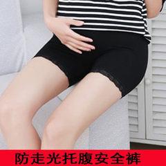 大码孕妇安全裤 莫代尔三分蕾丝托腹短裤可调节防走光孕妇打底裤 黑色平口 均码