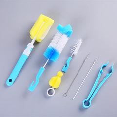 Orange baby bottle cleaning brush sponge nipple brush stainless steel straw brush bottle brush set o Colors mixed hair