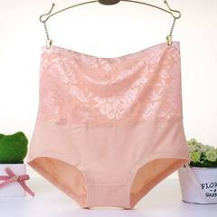 Hot style high-waisted cotton women`s underwear jacquard large size cotton sexy postpartum women`s u Color of skin M (160/85)