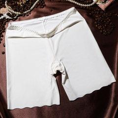 Ice silk bottomless safety pants safety pants women`s summer anti-light insurance flat-angle pants t white m