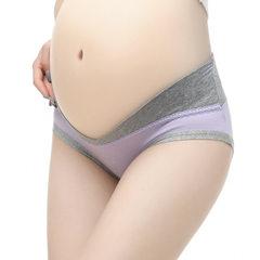 孕妇内裤纯棉低腰大码托腹女式三角打底内裤春夏全棉无痕女士内裤 0815紫色 M