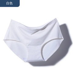 Hot style seamless ice silk panties pure color women a piece of seamless light plate minimalism wome white m