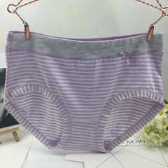 Japanese striped ladies panties with hips, middle waist bows, RC cotton breathable women`s briefs purple All code