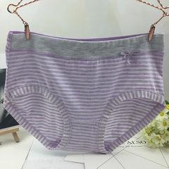 日系条纹女士内裤提臀中腰蝴蝶结 RC棉透气女士三角内裤 紫色 均码