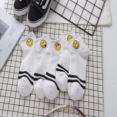 Summer new all cotton smiling socks hot style 18 new fashion girls net socks pure cotton student soc black All code