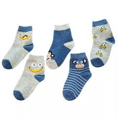 New products in spring 2018 cute cartoon little blue monkey cotton baby tube children`s socks wholes Colors are a Size S (recommended foot length 7-13 cm)