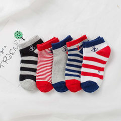 New style socks spring and autumn 100 cotton socks children socks boat socks British style socks soc Stripe mix S children aged 3-5