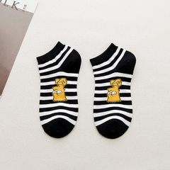 Shixiang knitting 18 new spring and summer Simpson cotton socks cartoon cute girls socks manufacture black All code