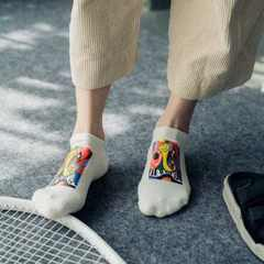 New products in autumn and winter 2017 colorful patchwork printed socks personality trend cotton lov The keys of black All code