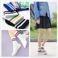Striped two bars men`s and women`s socks women`s stockings college wind sports socks special wholesa black Two bars socks 37~43