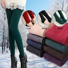 Autumn and winter velvety thickened inner velvet-bottomed socks candy color and velvety jumpsuit foo black Nine points plus velvet