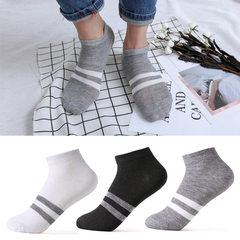 Socks gift socks boat socks men`s short tube pure color socks men`s and women`s socks gift men`s soc A-01 fine stripe of white gray
