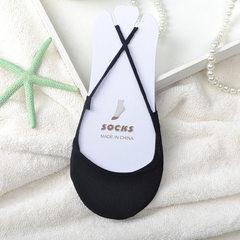 2018新款 个性吊带船袜 薄款防掉跟浅口半掌全棉透气吸汗隐形袜子 黑 均码