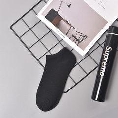 男士袜子 薄款纯色男船袜 休闲低帮浅口隐形袜 夏季全棉短筒袜子 黑 均码