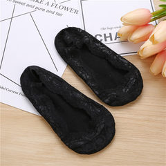 蕾丝裸袜船袜浅口冰丝隐形袜整圈硅胶防滑船袜薄女士袜子 黑 均码