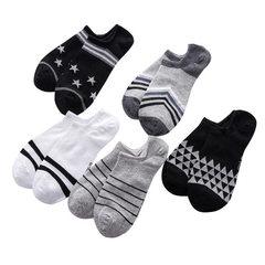 夏季新款男士运动船袜爆款地摊袜子隐形袜休闲条纹纯棉休闲短袜 混色 均码