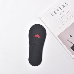 小清新全棉浅口隐形袜女士低帮爱心船袜硅胶防滑短筒袜子厂家批发 黑 均码