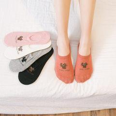 春夏季纯色猫咪浅口隐形袜女船袜 女士全棉短袜套防滑硅胶袜子 黑猫