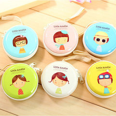 Creative cartoon tinplate zero purse mini portable round zipper earphone bag coin key bag American soldier series mixed hair