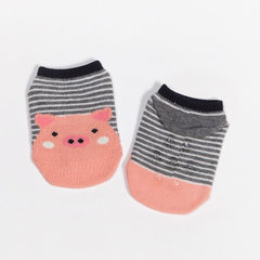 Summer new thin cotton children`s socks combing cotton baby cartoon anti-skid socks baby floor toddl Stripe pig S code 0 and 1 year old