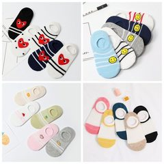 Children`s socks wholesale spring and summer new men`s and women`s pure cotton socks love smiling fa Picture color 1 S (about 3-5 years old)