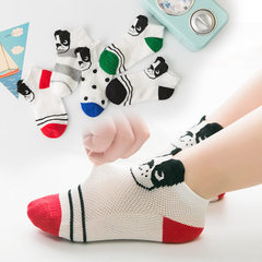 New type of children`s socks net eye loose mouth children`s socks ship socks pure cotton summer thin The dog boat socks 9-12 years old