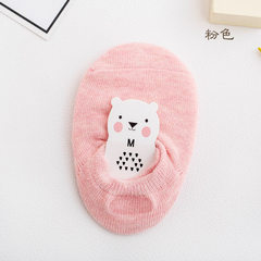 Spring and summer new boys and girls all cotton floor socks baby all cotton invisible socks silica g pink S (0-3 years old)