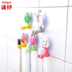 创意可爱吸盘牙刷架卡通动物家居儿童挂壁牙刷架吸壁式动物牙刷架 小猪
