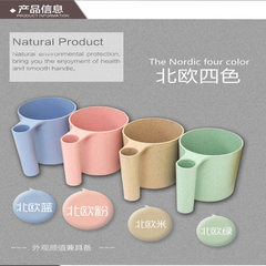 热销爆款小麦秸秆牙刷杯 小麦杯 儿童牙刷杯 牙刷架 可定制LOGO 蓝色绿色粉色金色 7.5*9CM