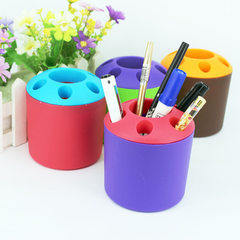 家庭装塑料多孔牙膏牙刷架套装 桌面整理创意笔筒收纳盒 可印logo 紫色